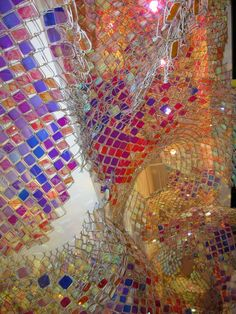 """Soo Sunny Park & Spencer Topel - """"Capturing Resonance,"""" a piece made of chain-link fencing on view at the deCordova Museum"""
