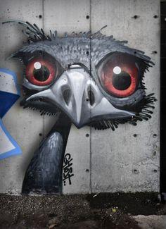 Fresque murale par le street-artiste américain Ghost