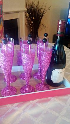 Dark Pink Glitter Champagne Flutes Party by RepublicOfParty