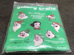 Gallery Crafts 8008 Do It Yourself Kit Walt Disney Snow White And The Seven Dwarfs Ornaments Disney Characters Mobile Wall Decoration Nursery Decor Ornaments measure 3  - 5  ( 7.65 cm to 12.70 cm) Kit contains : Stamped Felt 100 % Cotton Embroidery Floss Sequins, Beads , Instructions Kit is new , unopened. Front of the plastic bag has a small tear.  Happy Stitching We ship twice a week directly from the US to better serve our US customers.