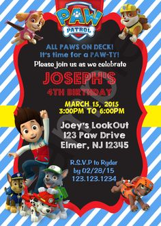 Digital birthday invitation game film series kids wish paw patrol birthday invitation digital file by thedigipaperpatch on etsy https stopboris Images