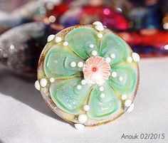 Green Flower  handmade glass lampwork ringtop by by TrollLover