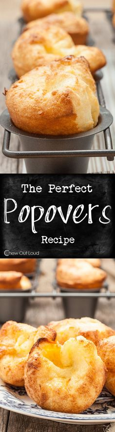 The Perfect Popovers -- only 5 ingredients, fluffy and delicious! Bread Recipes, Cooking Recipes, Good Food, Yummy Food, Bread And Pastries, Crumpets, Sweet Bread, Donuts, Tapas