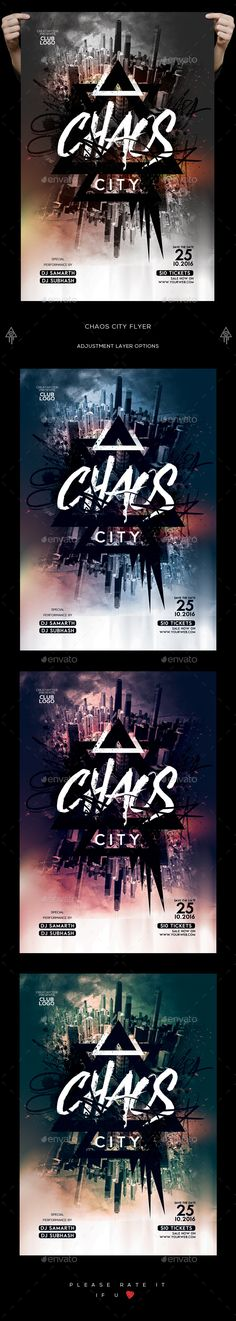 Chaos City Flyer — PSD Template #4x6 #night club flyer • Download ➝ https://graphicriver.net/item/chaos-city-flyer/18283749?ref=pxcr