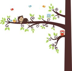 We have lot's of different designs and layouts to match your nursery design and layout.  Have a great day!! https://www.etsy.com/listing/265943237/forest-wall-decals-monkey-owl-wall-decal?ref=shop_home_active_77 #forestwalldecal