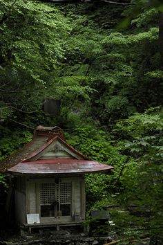 Amidagataki, Gifu, Japan - a little cottage in the forest, just like this