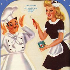 Vintage 1940's Meyercord Decal  CHEF With FRENCH MAID
