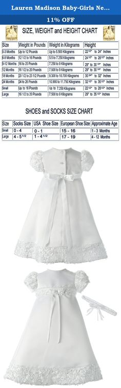 Lauren Madison Baby-Girls Newborn Satin Dress Gown Outfit, White, 0-3 Months. 2 piece set includes a matching headband. Floral soutache trim adorns the sleeves, front waist and skirt bottom.