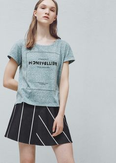 Sequined cotton t-shirt - T-shirts for Woman | MANGO United Kingdom