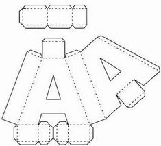 Letter templates can be used for different types of crafts and materials. Cardboard Letters, 3d Letters, Cardboard Crafts, Paper Crafts, Large Letters, Alphabet 3d, Alphabet Templates, Diy Gift Box, Diy Box