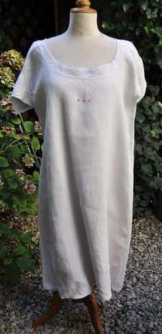Antique Nightdress Pure French Linen Long by LaBourgognedeNath
