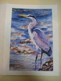 Great Blue Heron Note Card 5x7 Watercolor by watercolorsNmore, $3.50