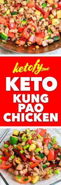me - Keto & Low Carb Kung Pao Chicken Ketofy.me - Keto & Low Carb Kung Pao Chicken Low Carb Lunch, Low Carb Keto, Ketogenic Recipes, Keto Recipes, Wrap Recipes, Keto Desserts, Keto Chinese Food, Lunch Recipes, Dinner Recipes