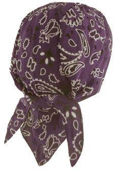 Purple Paisley Headwrap Doo Rag Durag Skull Cap Cotton Sporty Motorcycle Hat