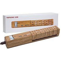 Fargo インテリア 木目調 電源タップ TAPKING USB 雷サージガード ベージュウッド AC6個口 3.4A USB2ポート PT601BEWD