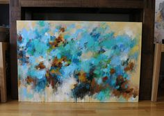 Verde azulado azul turquesa pintura abstracta-pintura por artbyoak1