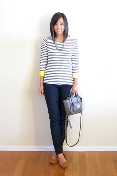 I'm pretty sure I need to add colorful cuffs to my new similar striped shirt!