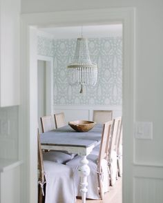 """Kate Marker Interiors on Instagram: """"A little peek  into this beautiful farmhouse dining room! #diningroom #wallpaper #whitefarmhouserenoclient"""""""