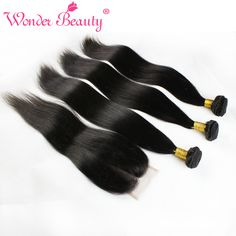 Peruvian Virgin Hair Straight With Closure 3 Bundle Deals Wonder Beauty Unprocessed Straight Human Hair Weave With Lace Closure