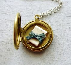 Secret Message Locket Necklace by TheDedicationCompany on Etsy - Amulette - Hammer Gift Personalized Bridesmaid Gifts, Personalized Necklace, Locket Necklace, Initial Necklace, Gold Locket, Initial Jewelry, Book Necklace, Pendant Necklace, Mother Jewelry