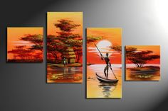 Model Name: African Canvas Arts (Landscape) Item No.: Support Base: Canvas Medium: Oil or Acrylic Size: (Custom sizes are also available) Multi Canvas Art, Canvas Paintings For Sale, African Art Paintings, Abstract Art For Sale, Landscape Materials, Africa Art, Large Painting, Safari, African Room