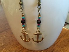 Handmade Beaded Earrings - Gold Anchor Charm, Magenta, Gold, Turquoise and Purple Glass Beads by cemFLORAL on Etsy