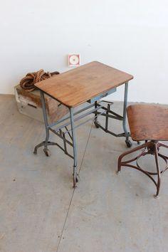 Vintage Industrial Toledo UHL Laptop/ Typewriter Table/ Desk - 1930s