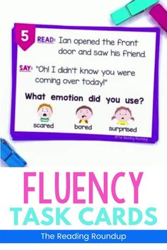 Reading fluency activities are meant to be fun! Students can use these task cards to practice expressive reading to match how the character is feeling. They will have so much fun practicing reading with expression that they won't realize they're improving their reading comprehension at the same time! The corresponding printable emotions charts can be used as an anchor chart during small groups & writers workshop. #thereadingroundup #fluency #taskcards #firstgrade Reading Fluency Activities, Fluency Practice, Class Activities, Reading Resources, Reading Comprehension, Third Grade Reading, Second Grade, Emotion Words, Reading Buddies