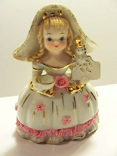 Figurine Shabby Cottage Chic Collectible Japan Unique Lovely Vintage Porcelain Lady Fancy Dress Glamour Girl Old Fashioned Telephone Bank
