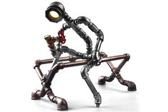 2015 New Style Robot Light Modern Industrial Cast Water Pipe Light Led Desk Lamp Vintage Steampunk Metal Iron Lights Bulb-B009