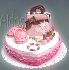 Pink accessories cake