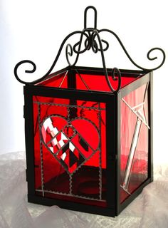 Valentine Red Romantic Wrought Iron Stained by stainedglassturtle
