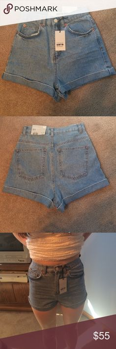 Topshop high waisted pants Brand new with tag only worn to try on in picture.  High waisted light denim. The waist is 24 inches Topshop Shorts Jean Shorts