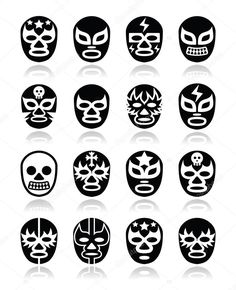 Lucha libre, luchador Mexican wrestling masks icons by RedKoala Mexican Mask, Mexican Tattoo, Luchador Mask, Mexican Wrestler, Mexican Designs, Art Lessons Elementary, Shop Signs, Chicano, Tatoos