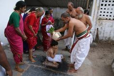 Ritual purification bath for upanayana samskara. The ceremony that invests the wearer with the sacred thread is often considered a socially and spiritually significant rite (or samskara). It has varying formats across Hindu communities and is also called by varying names, including brahmopadesham, munji, munj, janeu rasm and bratabandha.