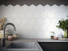 Ape Rustic Hexagon tile in White. High gloss finish with a hand made edge. Hexagon Backsplash, Hexagon Tiles, Kitchen Room Design, Kitchen Backsplash, Small Toilet Room, Kitchen Facelift, Tile Edge, Loft Bathroom, Apartment Makeover
