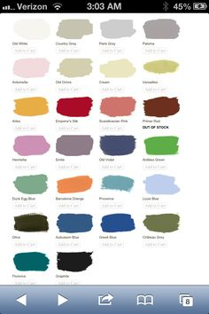 Annie Sloan chalk paint colors.