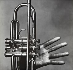 Irving Penn Miles Davis hand and trumpet. New York (1986)