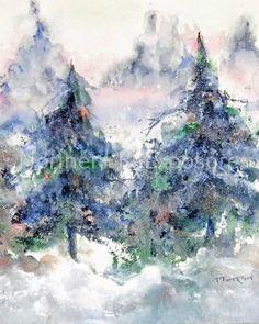 Tile 'Winter Pines' Ceramic Decorative by NorthernReExposure