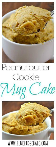Peanut butter cookie mug cake. Gluten free, dairy free, refined sugar free recipe for peanutbutter cookie mug cake! Gluten Free Desserts, Dairy Free Recipes, Just Desserts, Delicious Desserts, Yummy Food, Peanut Butter Cookie Mug, Cookie In A Mug, Mug Sugar Cookie, Mug Recipes