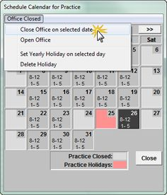 When the entire office is closed for a holiday or other event, instead of just blocking off the operatories in the schedule, the best thing ...