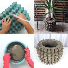 Diy Crafts For Gifts, Diy Arts And Crafts, Cement Flower Pots, Diy Furniture Renovation, Pottery Painting Designs, Plastic Bottle Crafts, Cement Crafts, Concrete Pots, Halloween Crafts For Kids