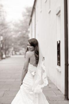 bridal portrait walking down main street @Shelly Figueroa Figueroa Beck Photography
