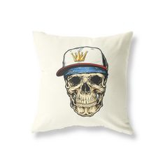 Vintage Style Cushion for use in the Living Room, Bedroom, Children's Playroom and more! Printed in the UK Cotton / Polyester Vintage Cushions, Snap Backs, Vintage Looks, Playroom, This Is Us, 18th, Skull, Prints, Game Room Kids