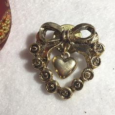 Vintage Dangling Heart Bow Flowers Rose Pinback by Statusjacker