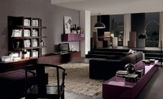 Modern-living-room-with-lilac-color-beige-carpet-and-wood-TV-set