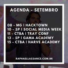 Agenda de eventos em Setembro Social Media, September, Social Networks, Social Media Tips