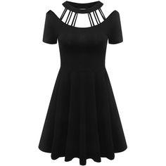 Women Vintage 60s Black Halter Dresses Punk Rock Hip Hop Gowns Gothic... ($20) ❤ liked on Polyvore featuring dresses, gowns, vintage dresses, halter-neck dress, vintage halter dress, punk dress and halter neck dress