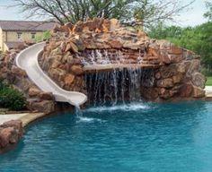 Pool, waterfall, slide