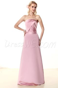 Wedding, Charming Ruched A-Line Strapless Floor-Length Nastye's Bridesmaid Dress, Bridesmaid,135.99